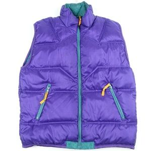 Green Purple Reversible Down Puffer Vest Sigment
